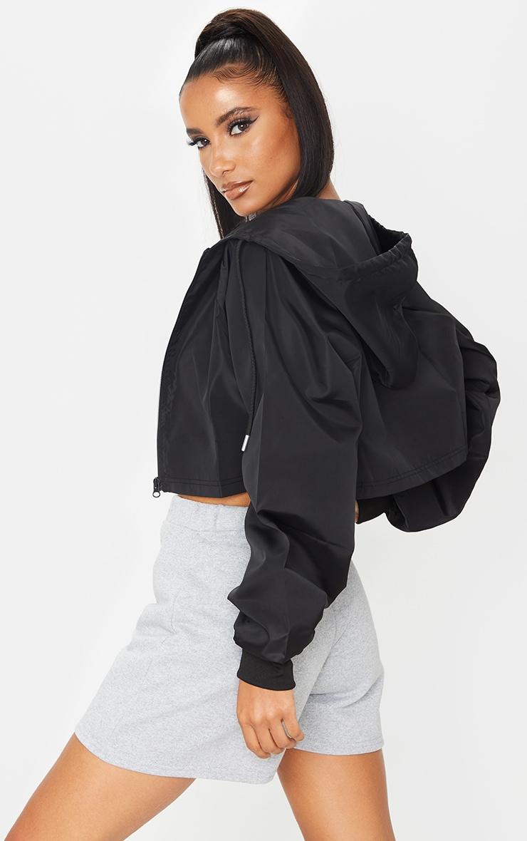 Black Cropped Hooded Toggle Windbreaker 2
