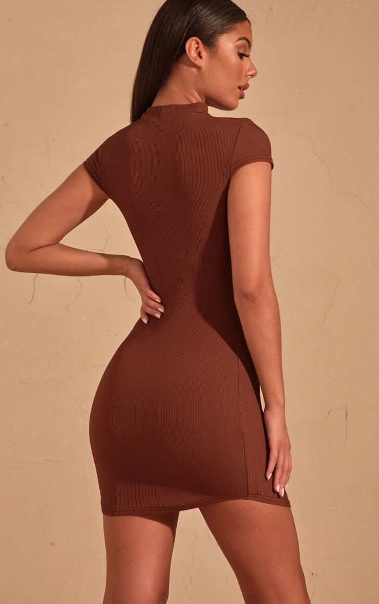 Chocolate Brown Ribbed High Neck Bodycon dress  2