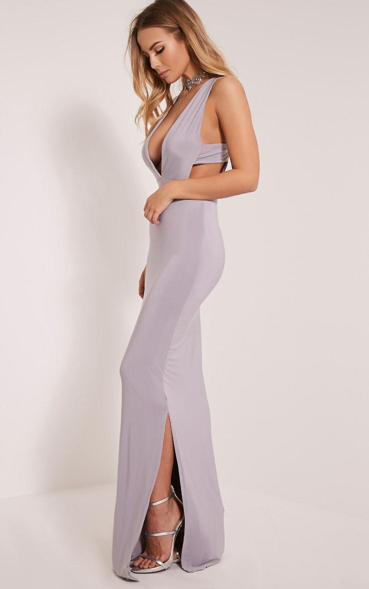 Mayah Grey Deep Plunge Tab Side Maxi Dress 4