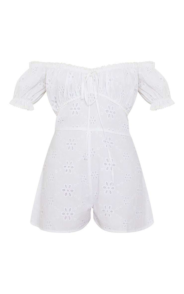 White Broderie Anglaise Bardot Ruched Bust Romper 5