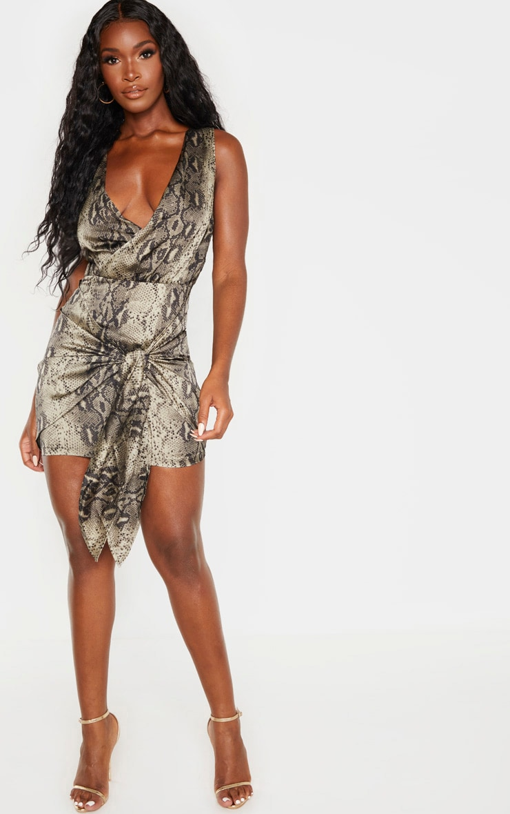 Multi Snake Print Sleeveless Drape Bodycon Dress 4