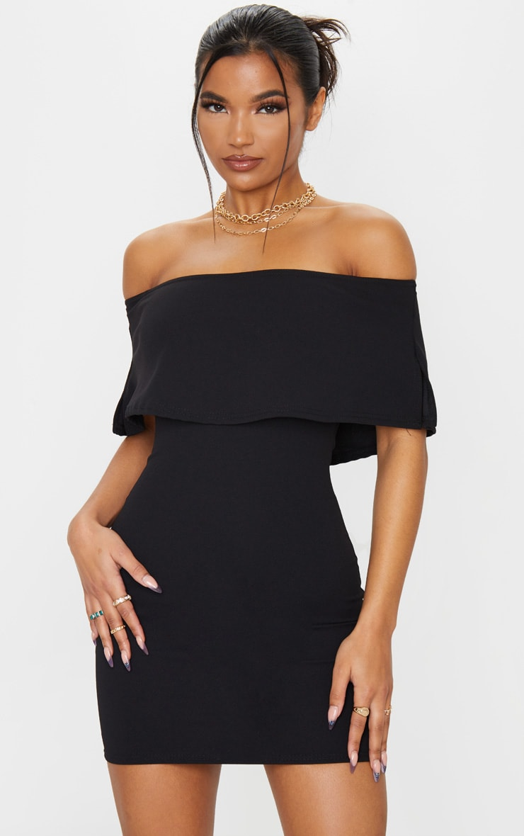 Carley Black Frill Bodycon Dress 1