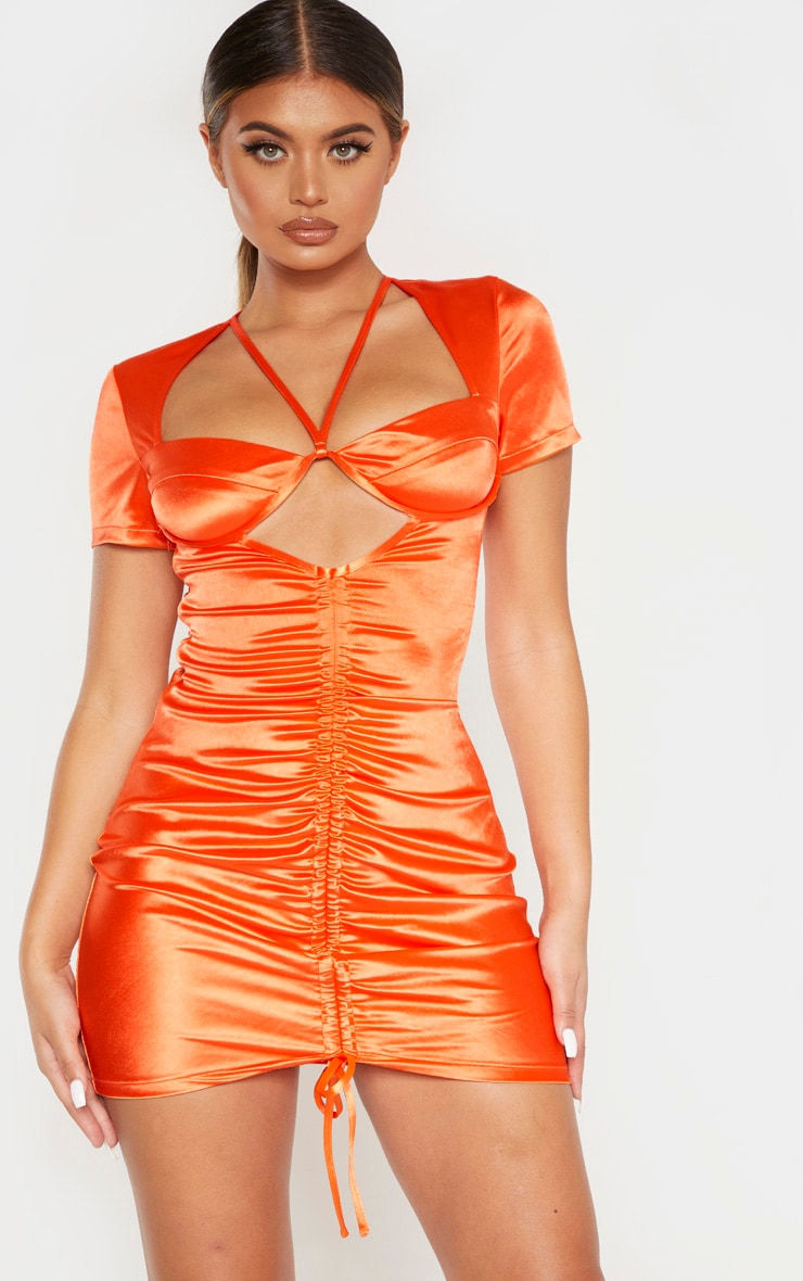 Orange Satin Cup Detail Ruched Front Bodycon Dress 1