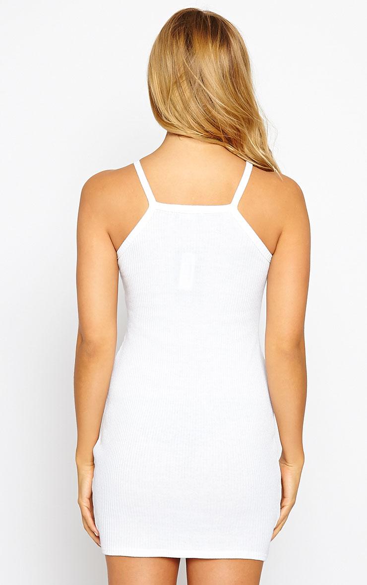 Zahra White Racer Ribbed Mini Dress 2