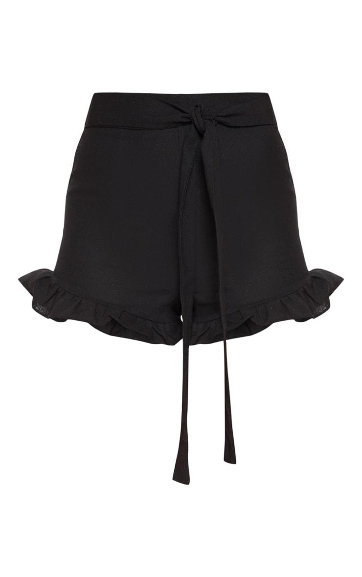 Black Woven Tie Waist Frill Hem Short 3