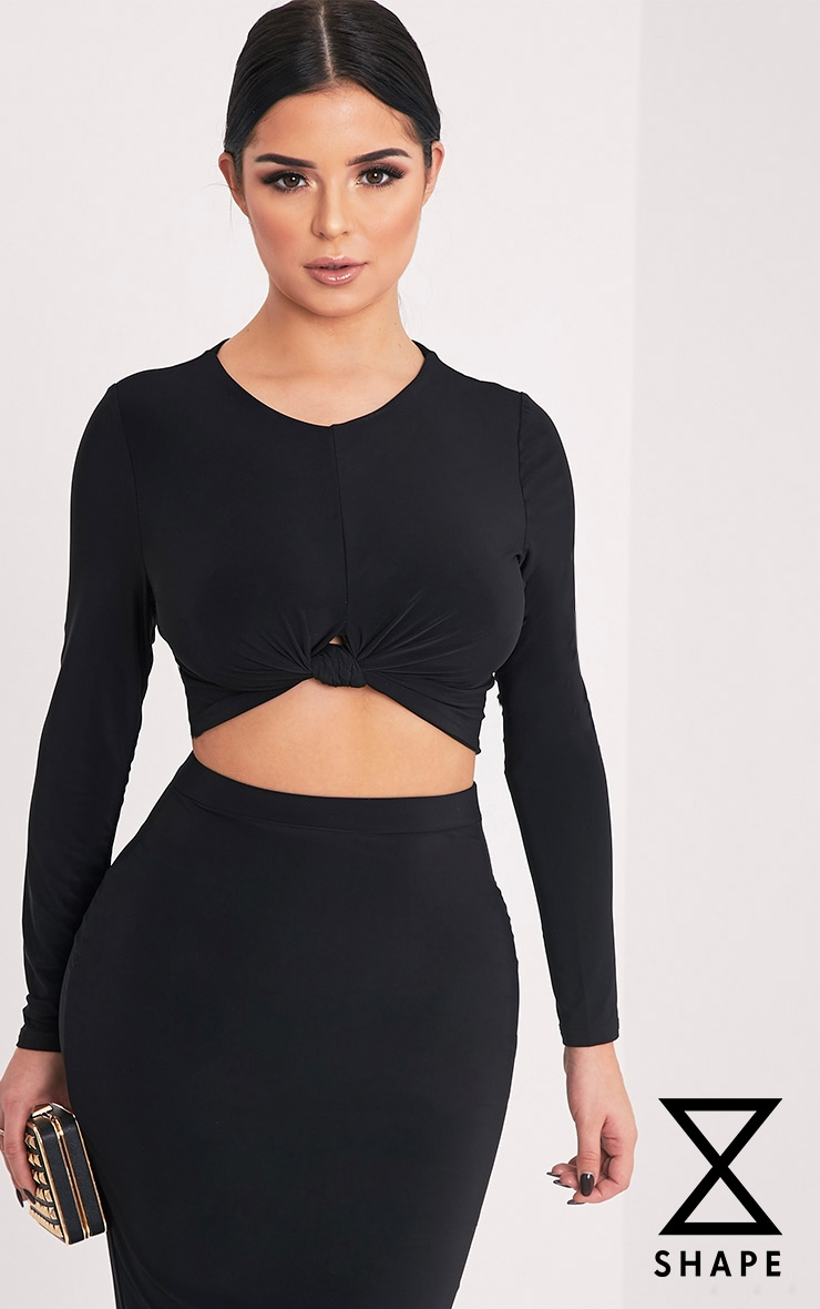 Shape Lexis Black Slinky Knot Front Crop Top