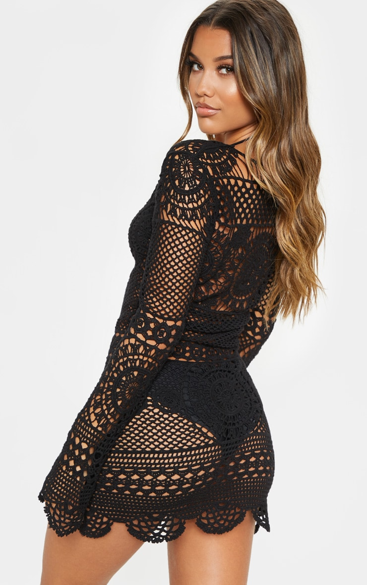 Black Crochet Cotton Dress 2