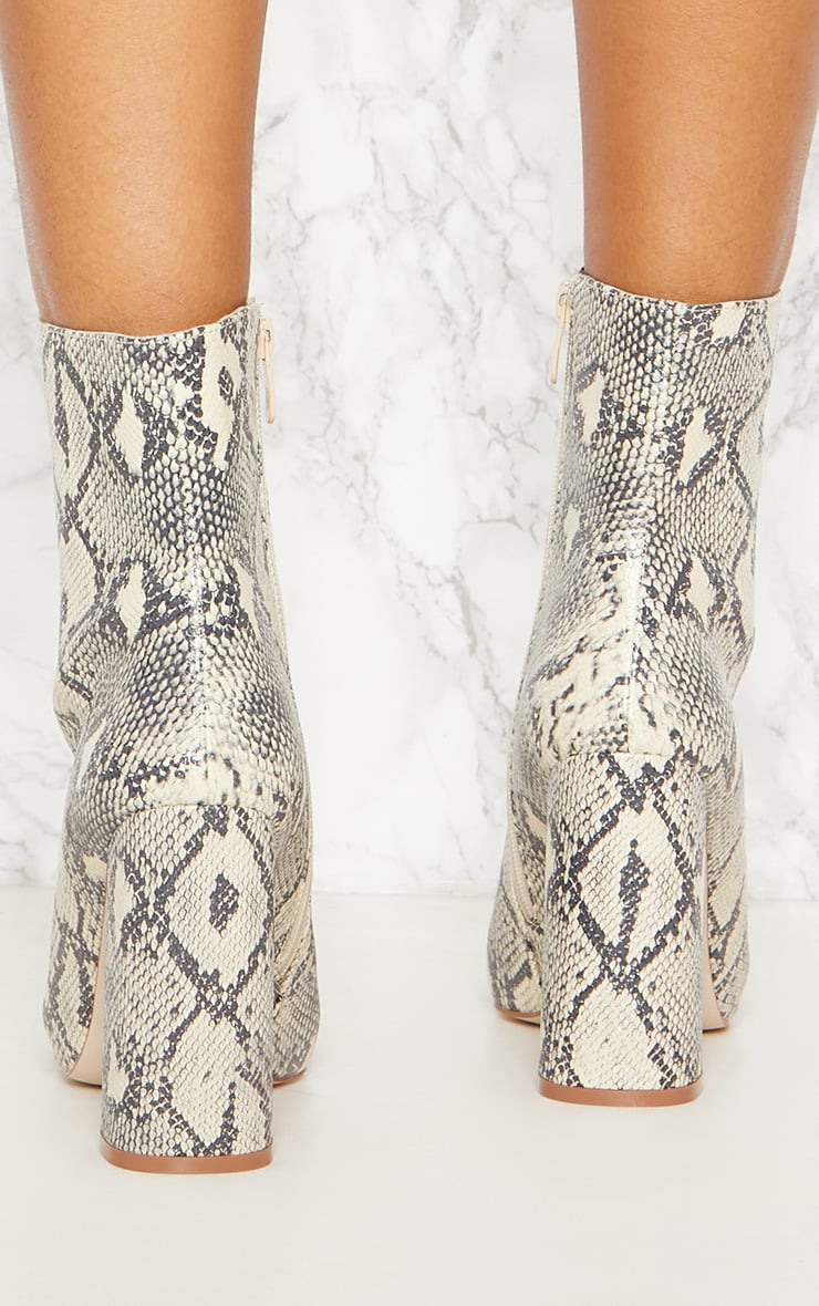 Beige Faux Snake Ankle Boot 4