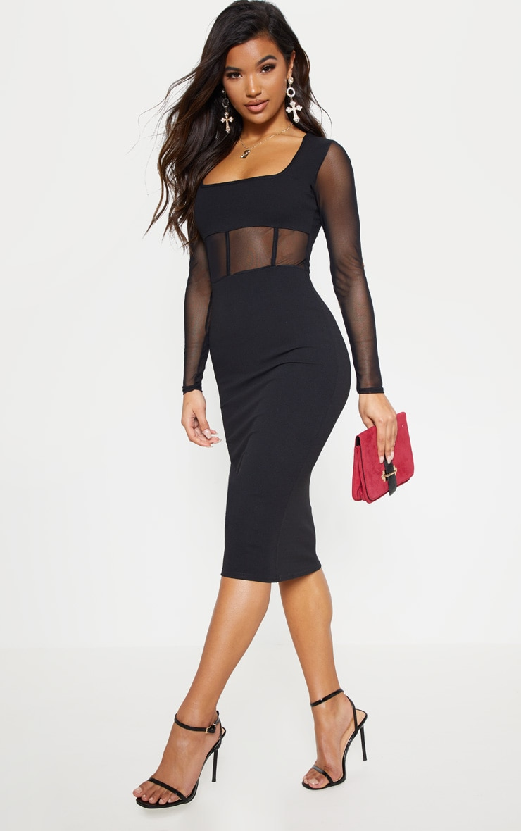 Black Mesh Panel Long Sleeve Midi Dress 1