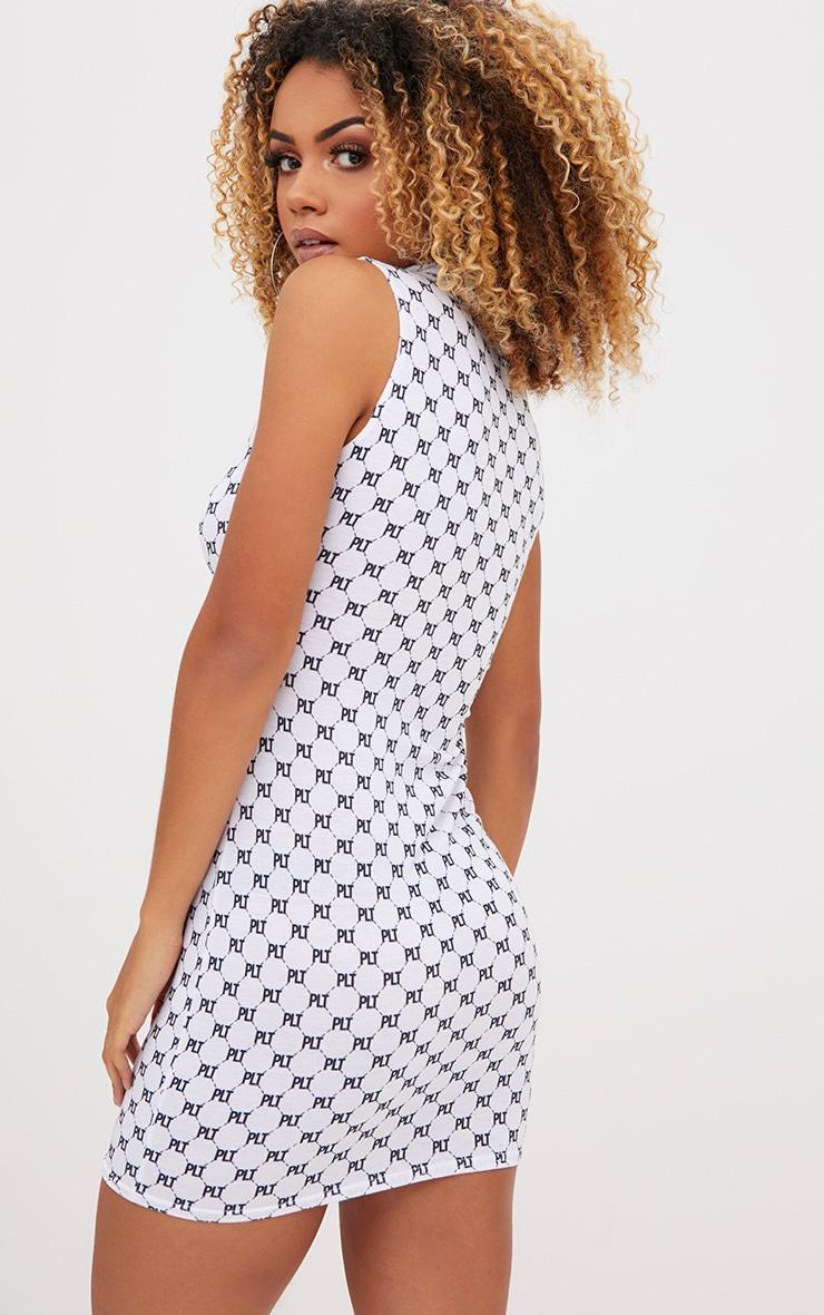 PRETTYLITTLETHING Print White Jersey Bodycon Dress 2
