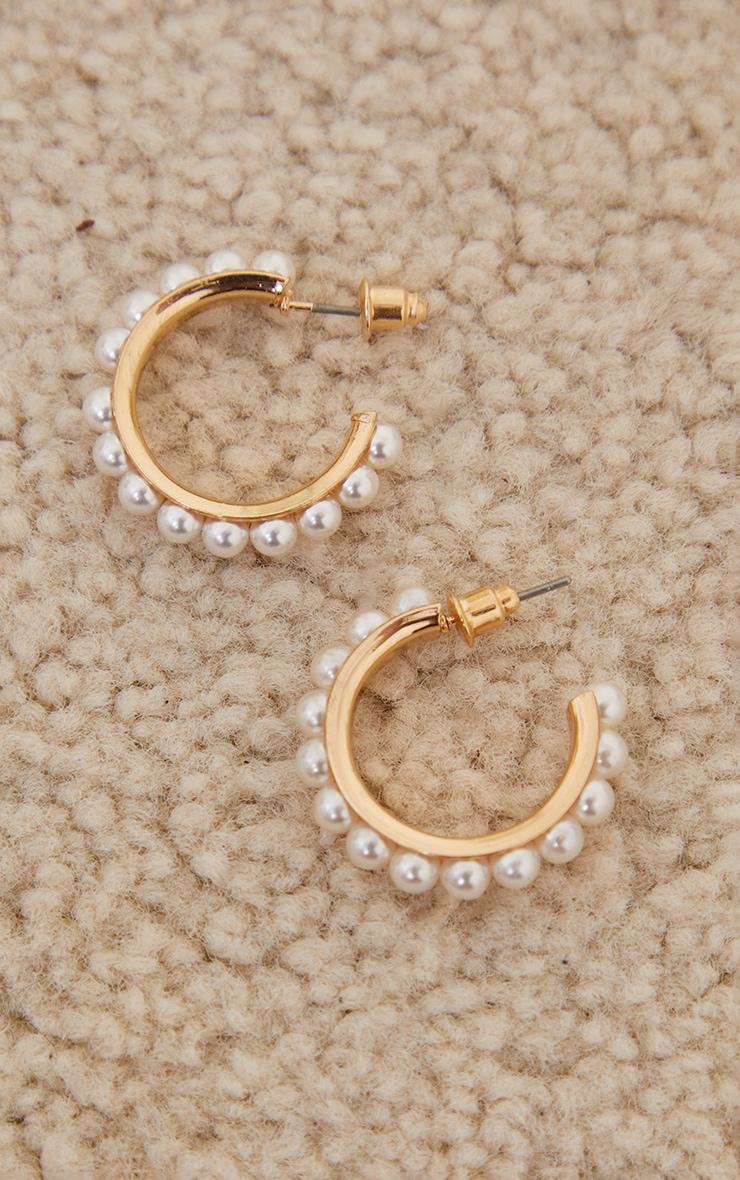 Gold Mini All Over Pearl Hoop Earrings 1