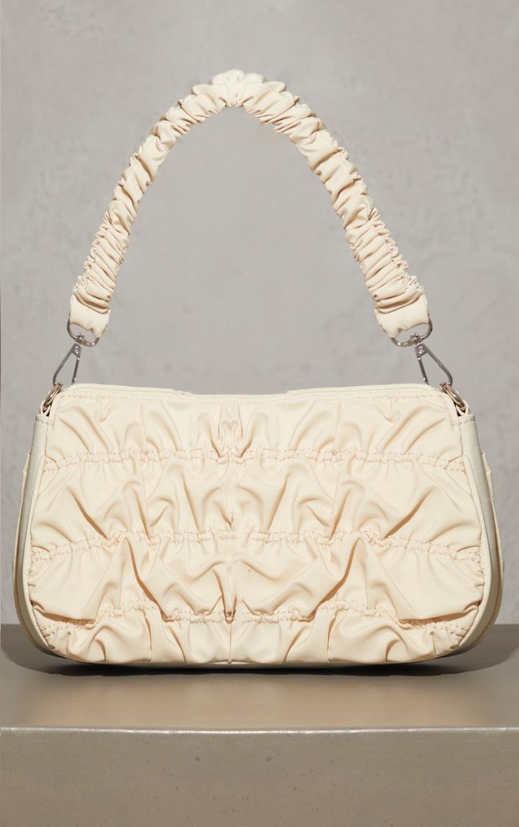Cream Nylon Ruched Shoulder Bag 2