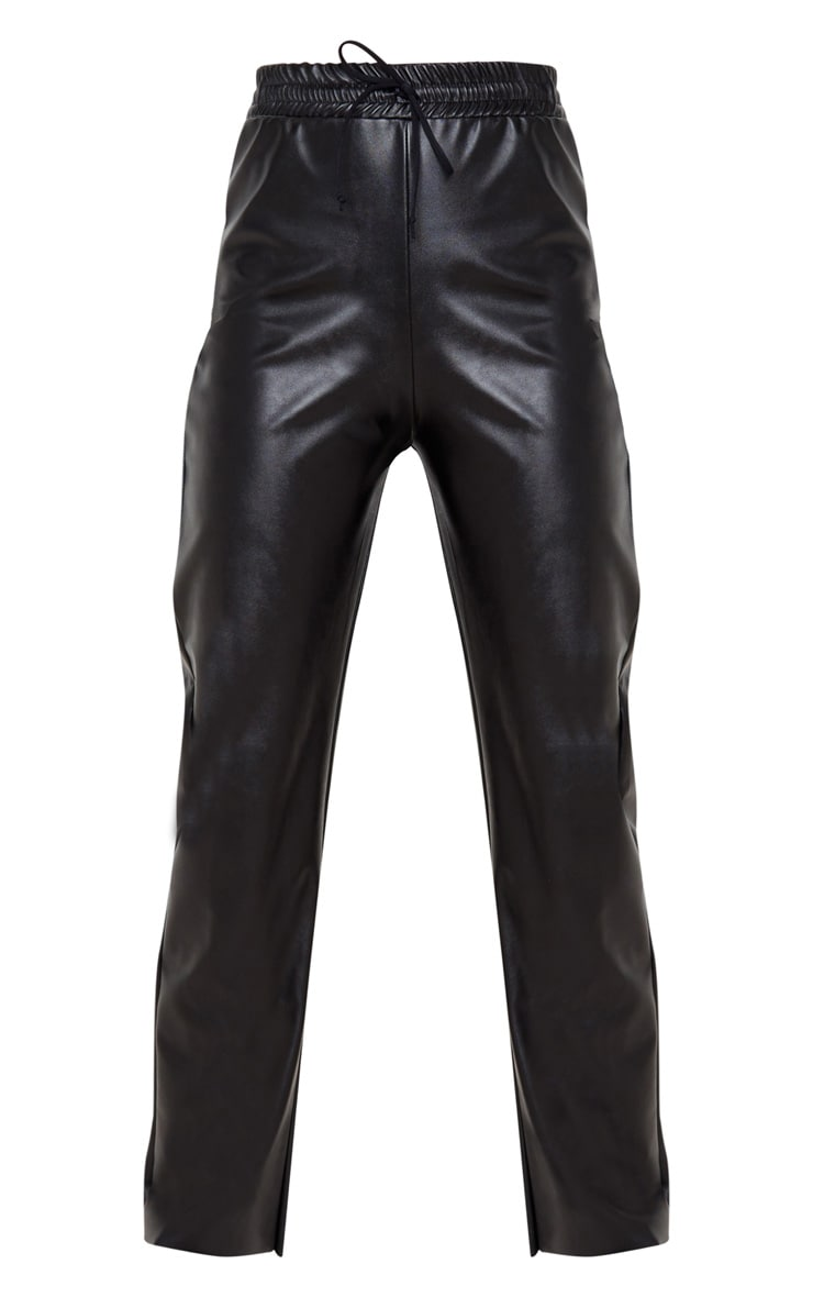 Black Faux Leather Joggers 3