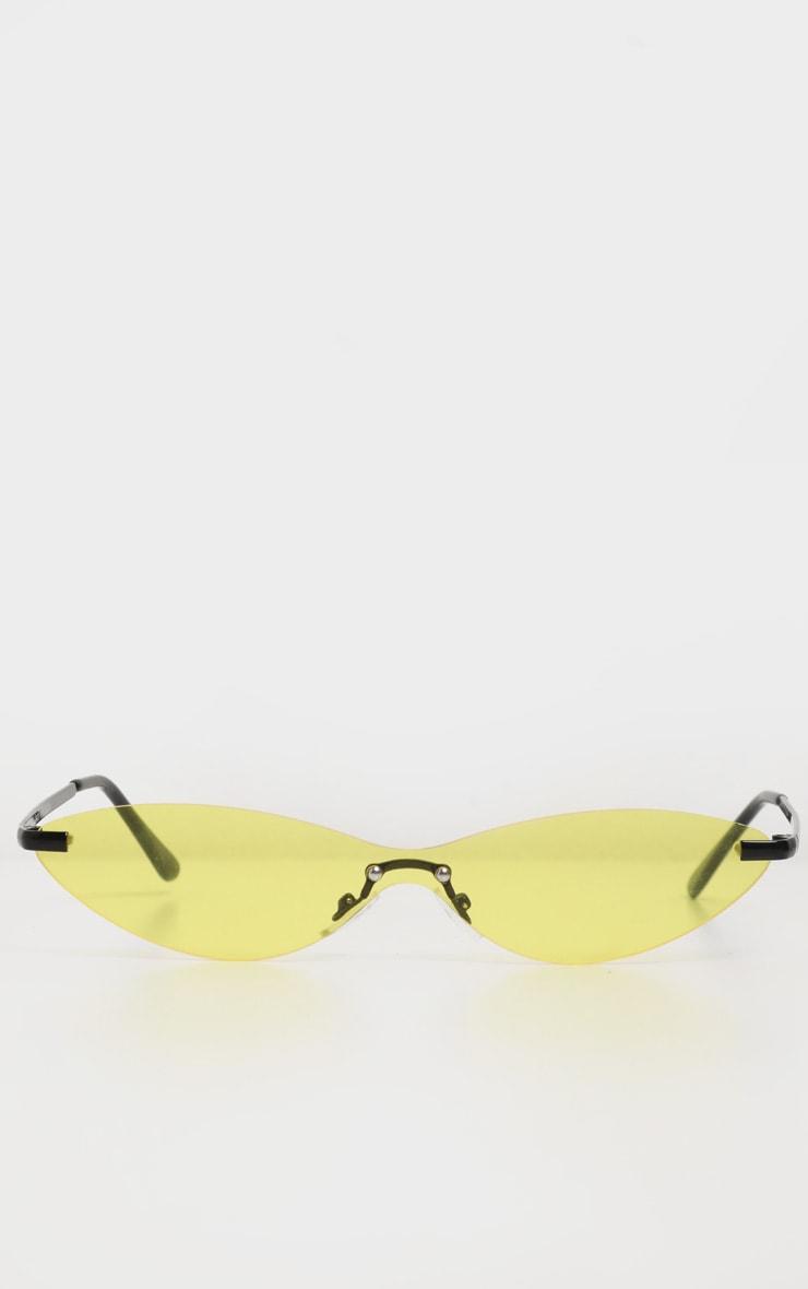 Neon Yellow Tinted Frameless Slim Cat Eye Sunglasses 2
