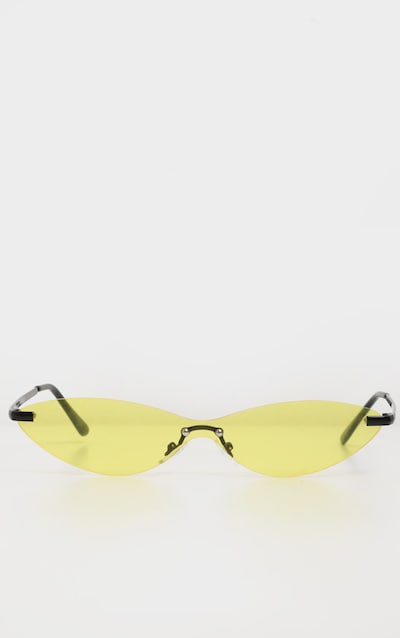Neon Yellow Tinted Frameless Slim Cat Eye Sunglasses
