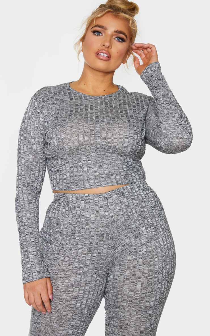 Plus Grey Knitted Rib Long Sleeve Crop Top 1