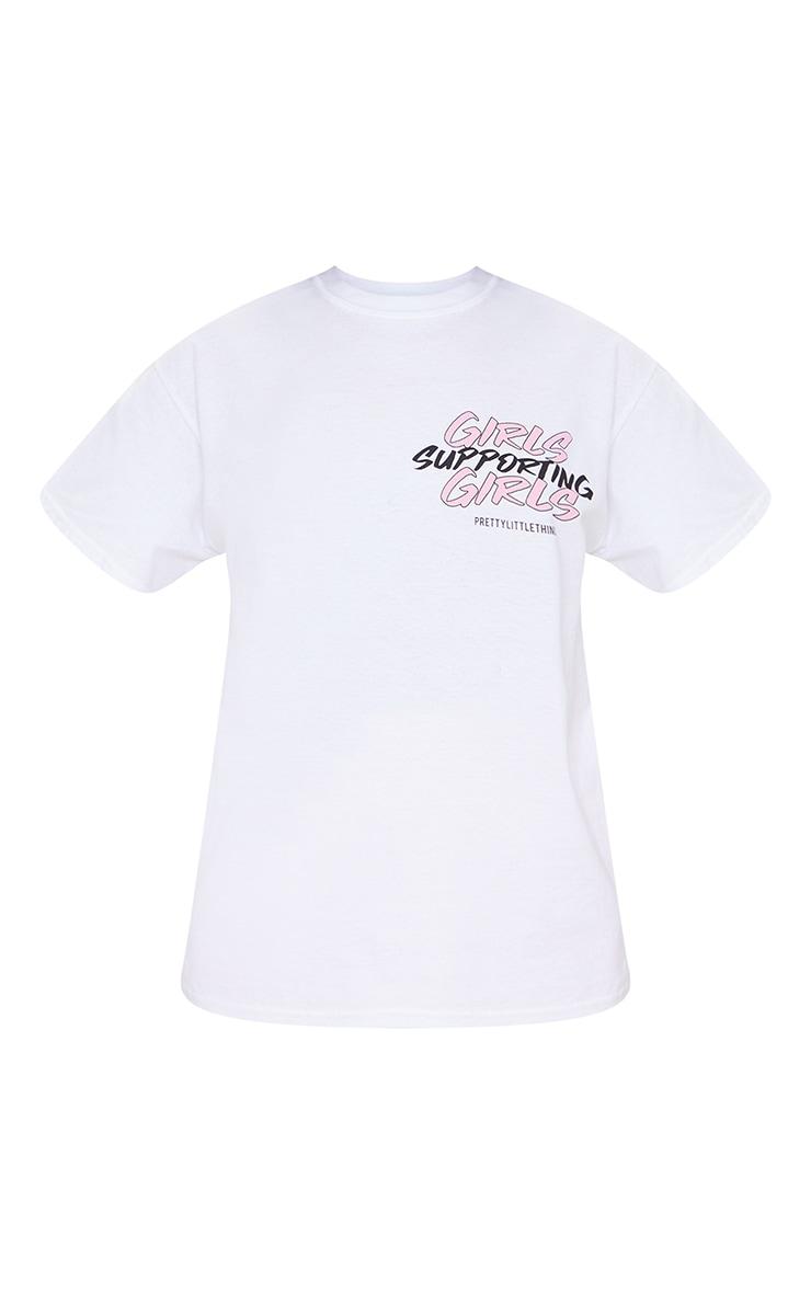 White Printed Girls Supporting Girls T Shirt 5
