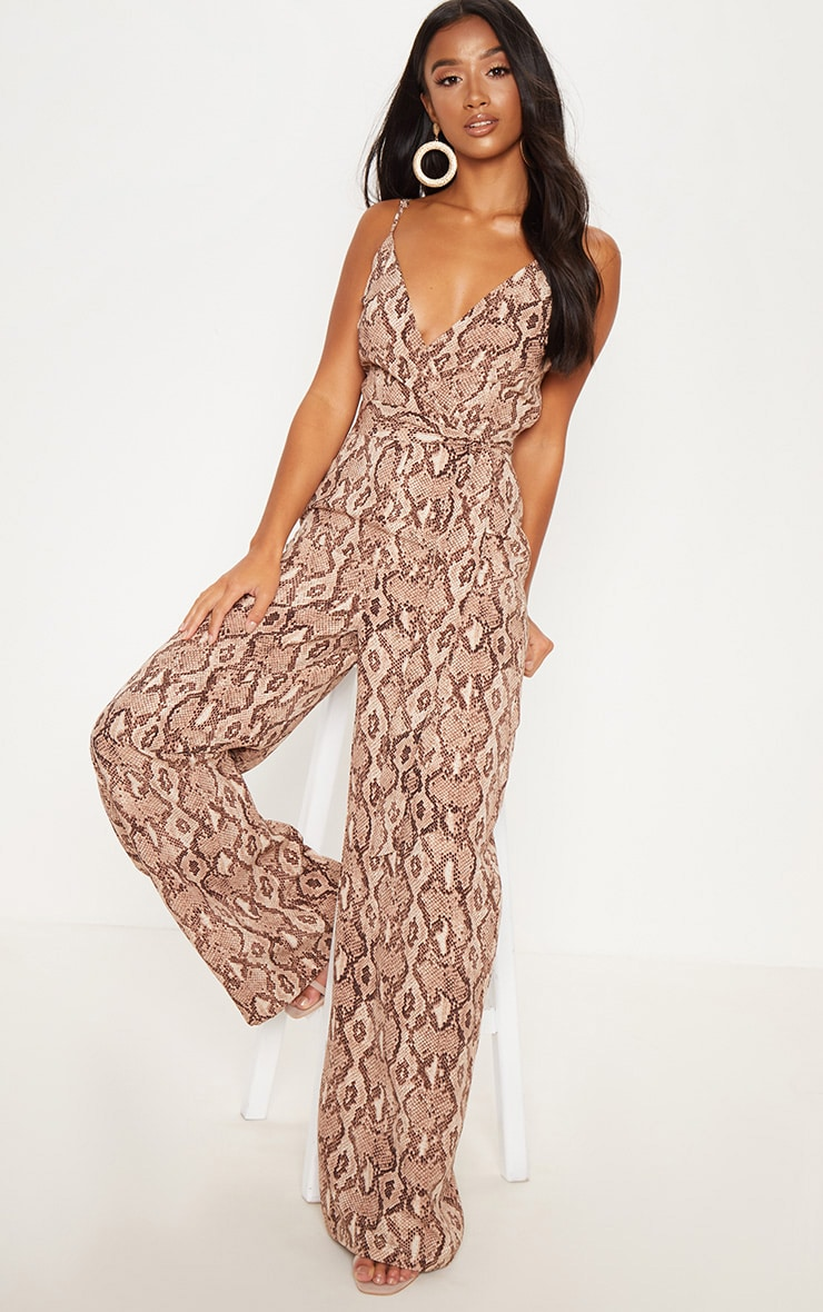 Petite Stone Snake Print Strappy Tie Waist Jumpsuit  1