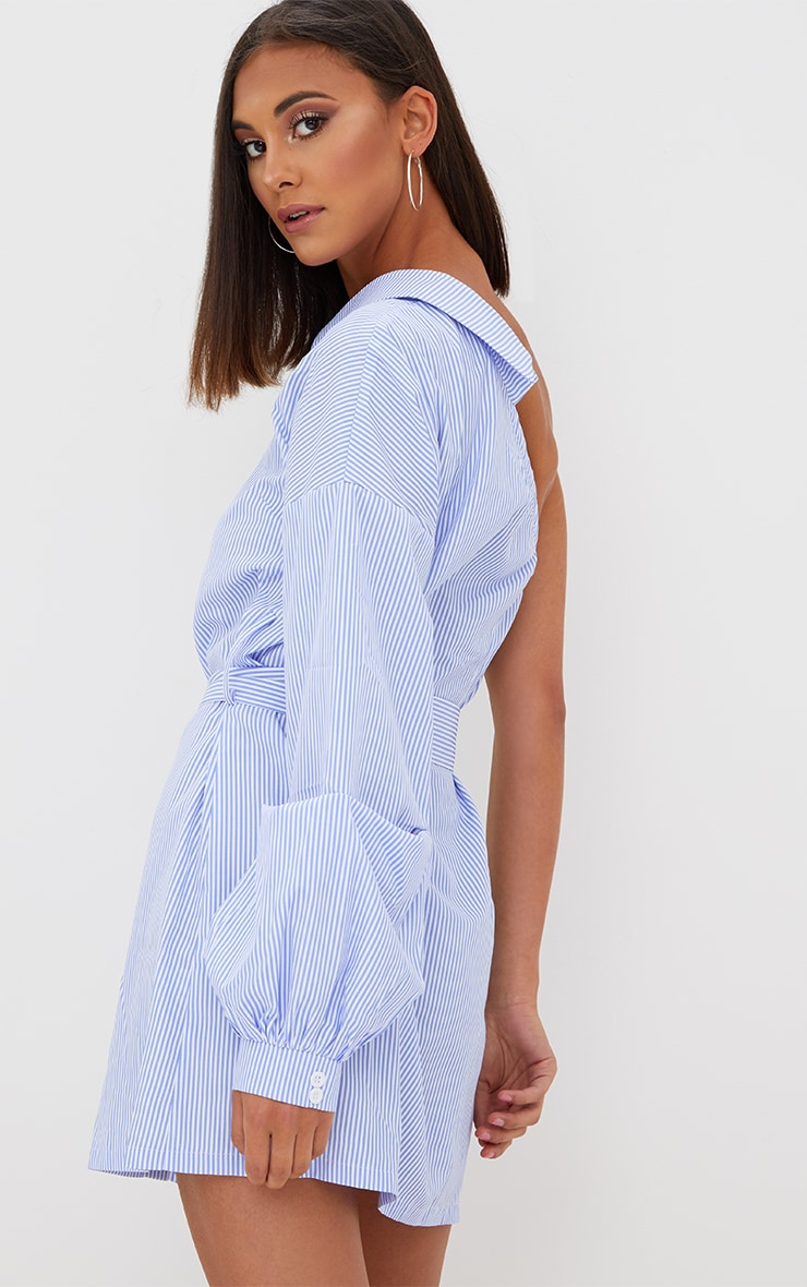 Blue Striped One Shoulder Shirt Dress 2