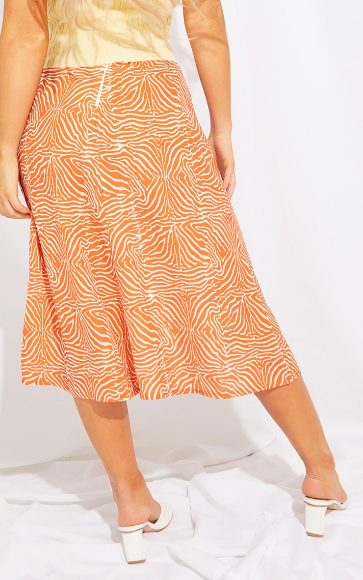 Orange Zebra Floaty Midi Skirt 3