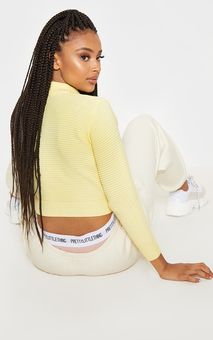 Pastel Yellow Ribbed Cropped Knitted Jumper  2