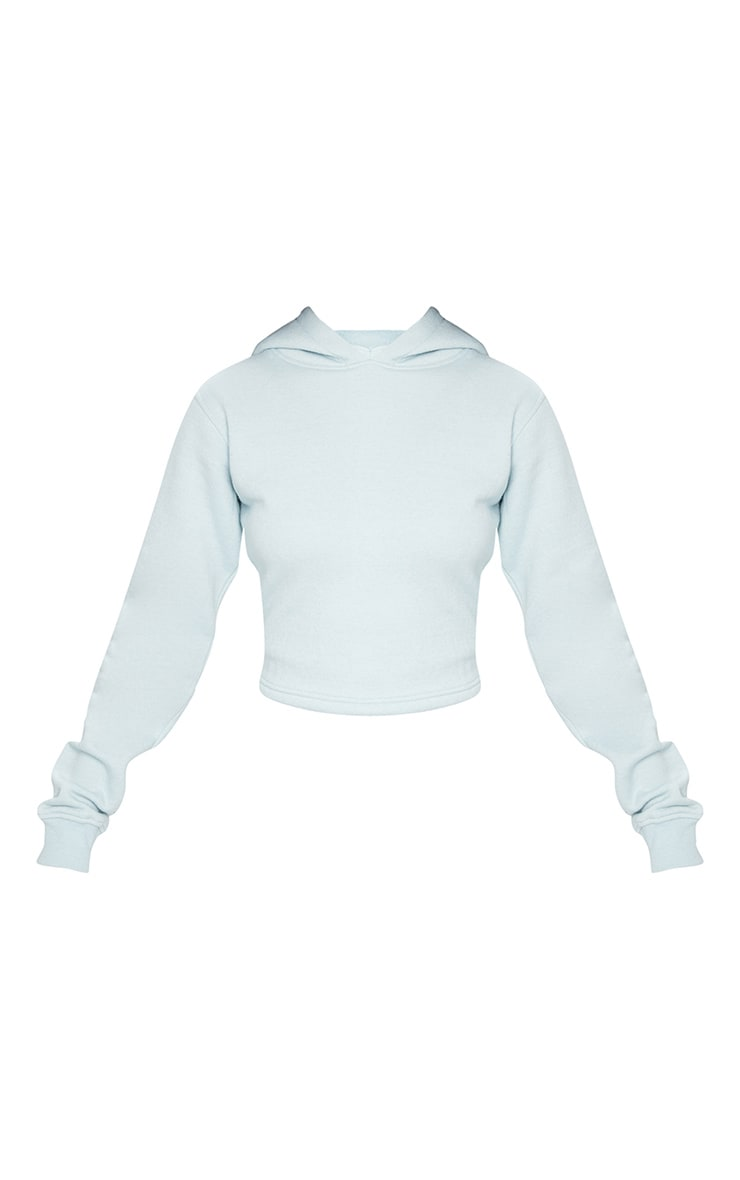 Baby Blue Lace Up Back Crop Hoodie 5