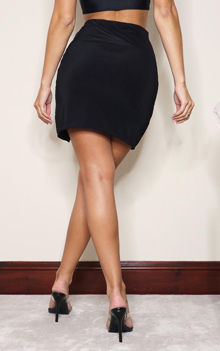 Black Slinky Slit Hem Mini Skirt 3