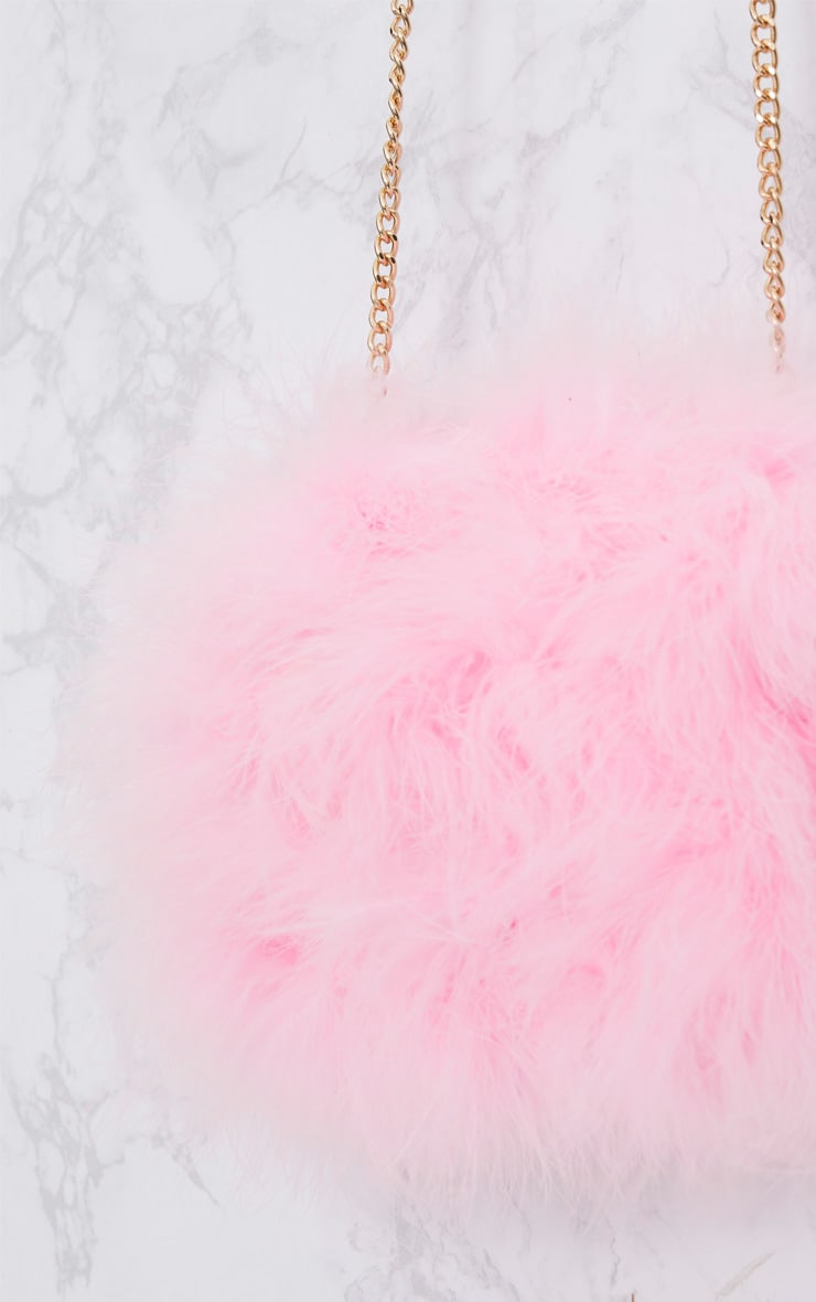 Candy Pink Marabou Feather Clutch Bag 4