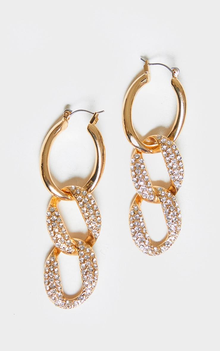 Gold Pave Chain Hoop Earrings 2