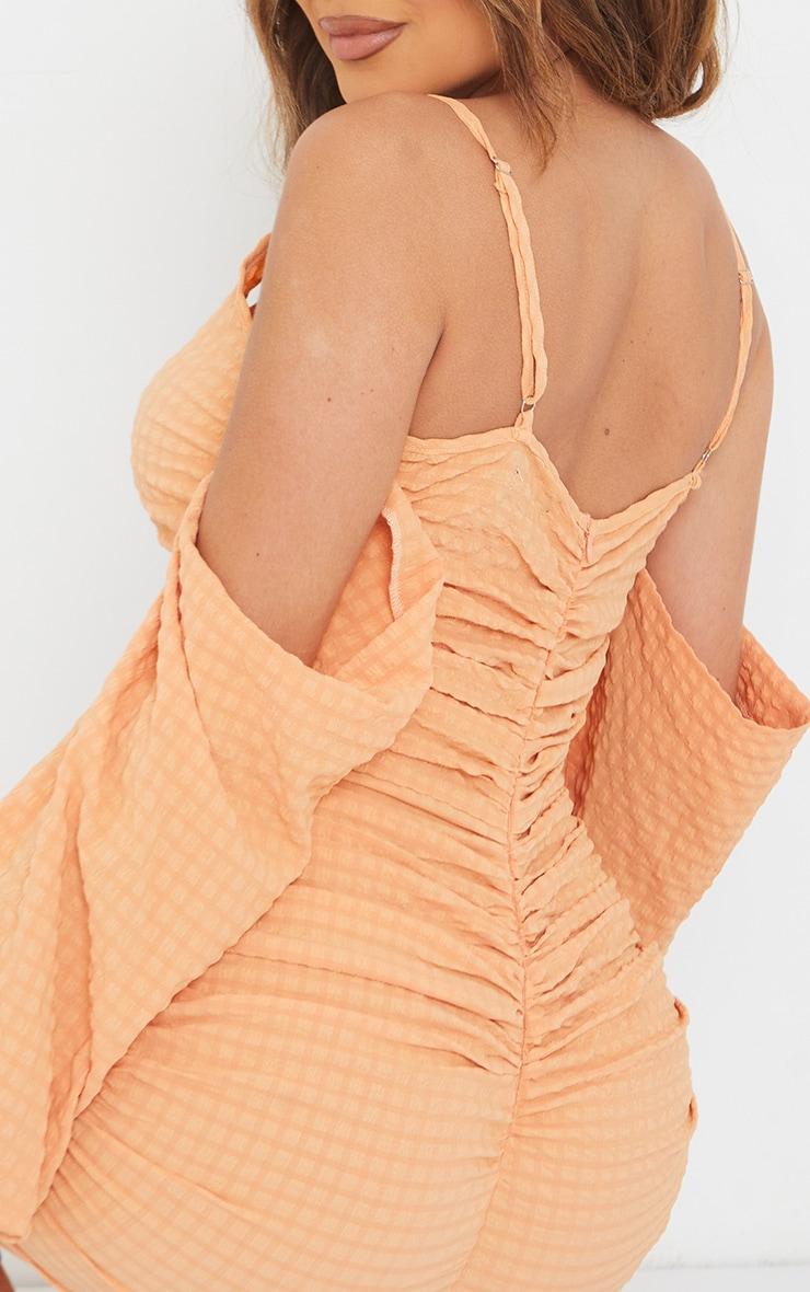 Tangerine Textured Cold Shoulder Ruched Bodycon Dress 4