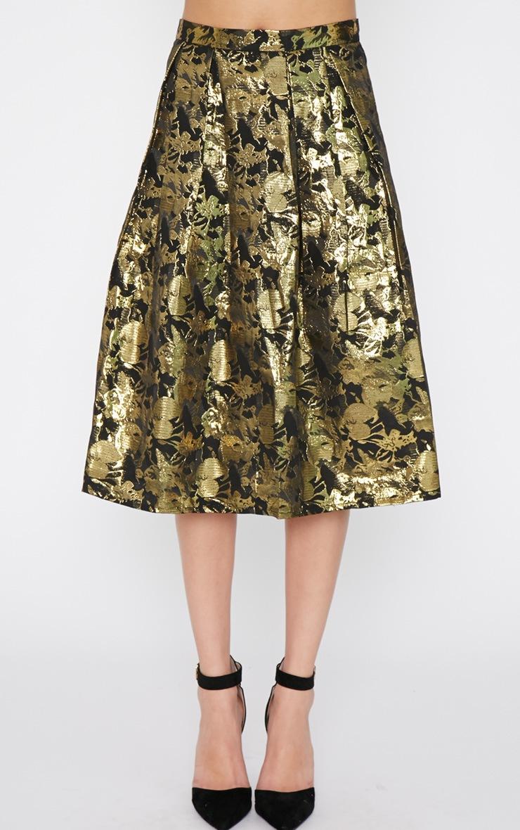 Iva Gold Floral Print A Line Skirt -12 2