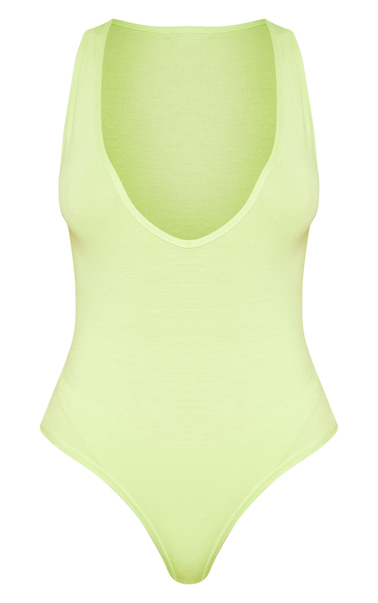 Basic Lime Jersey Plunge Neck Thong Bodysuit  3