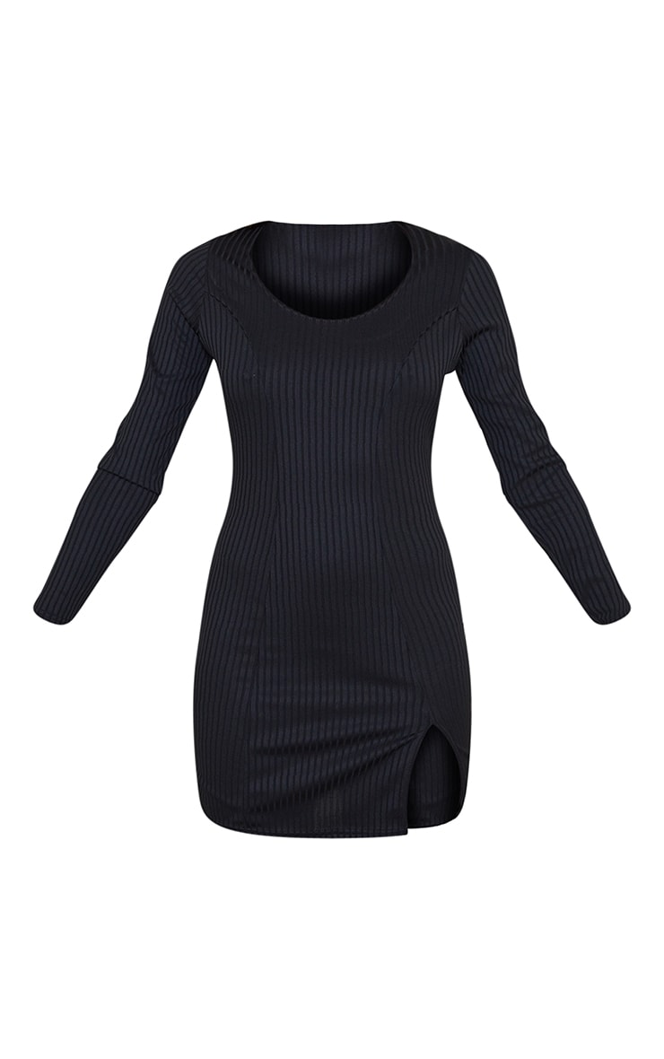 Black Ribbed Long Sleeve Split Hem Bodycon Dress 5