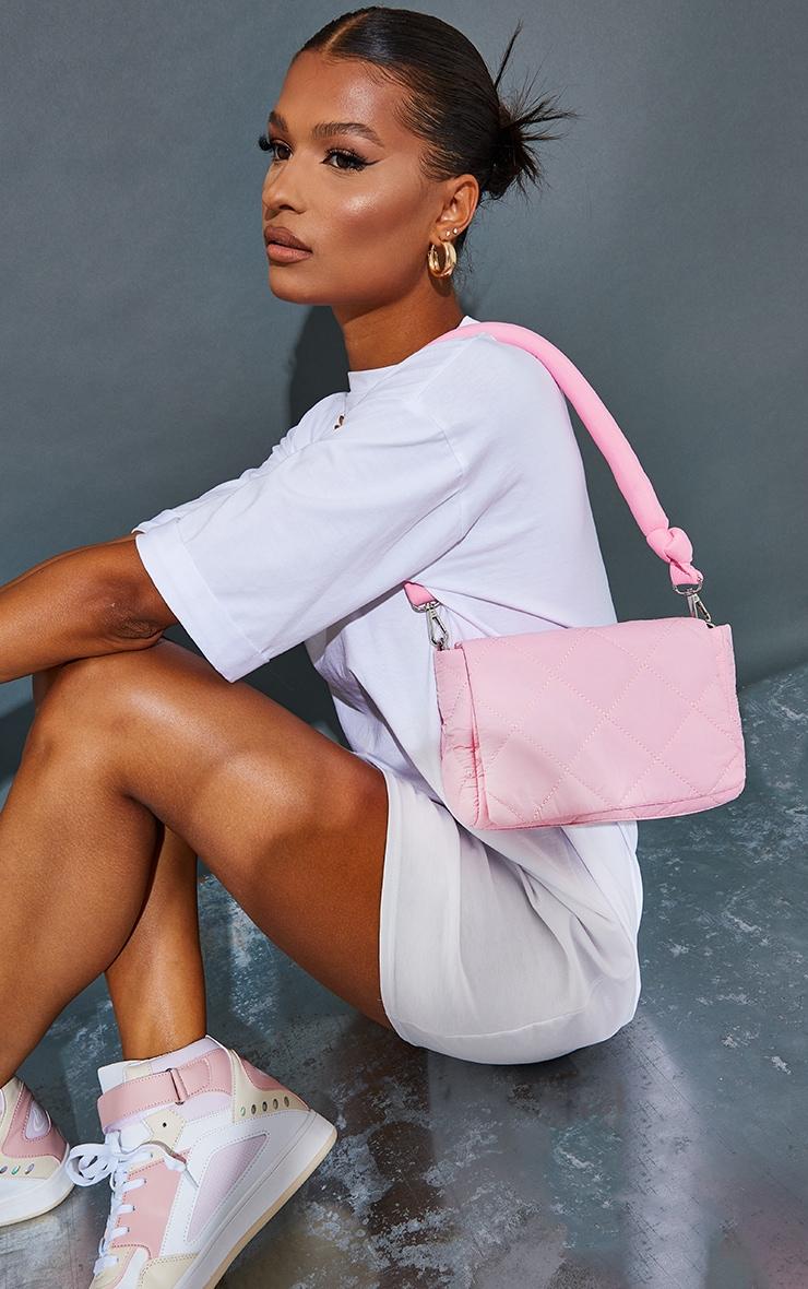 Pink Nylon Quilted Shoulder Bag 1