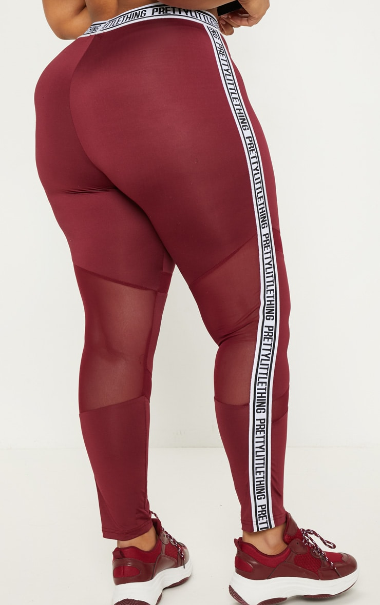 PRETTYLITTLETHING Plus Burgundy Brand Legging   4