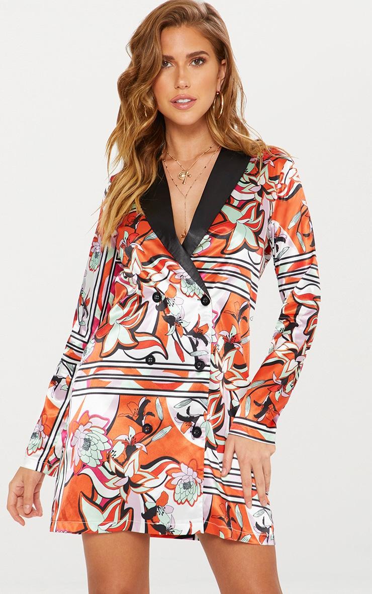 Orange Contrast Detail Blazer Dress 1