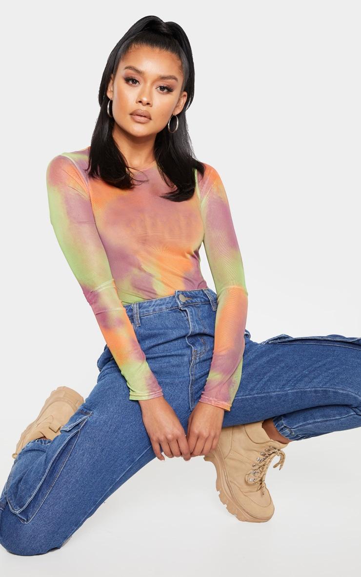 Multi Tie Dye Printed Sheer Mesh Crew Neck Bodysuit 1