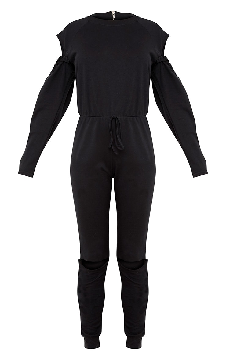 Lindsey Black Sweater Cold Shoulder Ripped Knee Jumpsuit 3