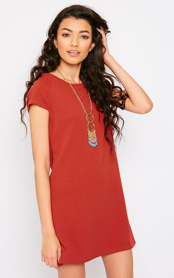 Camila Rust Loose Fit Shift Dress 4