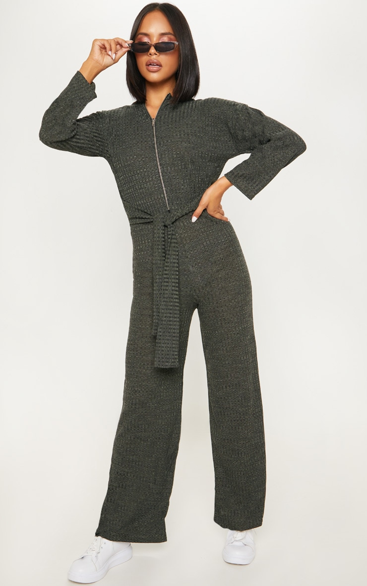 Khaki Rib Crew Neck Long Sleeve Jumpsuit