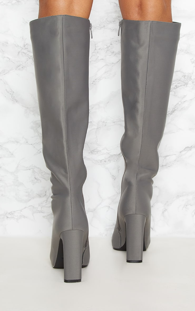 Charcoal Grey Knee High Flat Heel Boot 4