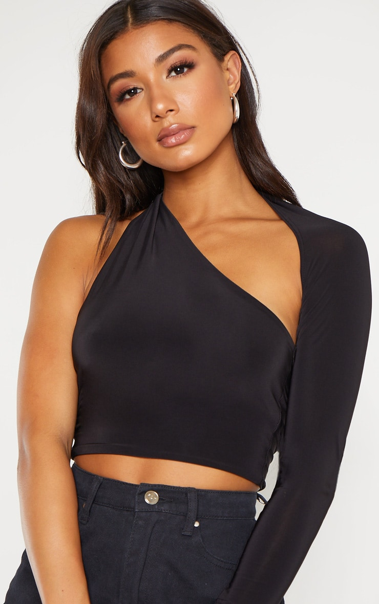 Black One Shoulder Asymmetric Long Sleeve Crop Top 5