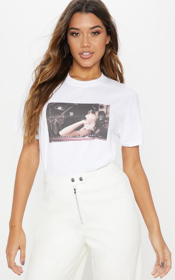 White You Smell Like Drama Slogan Oversized T shirt 1