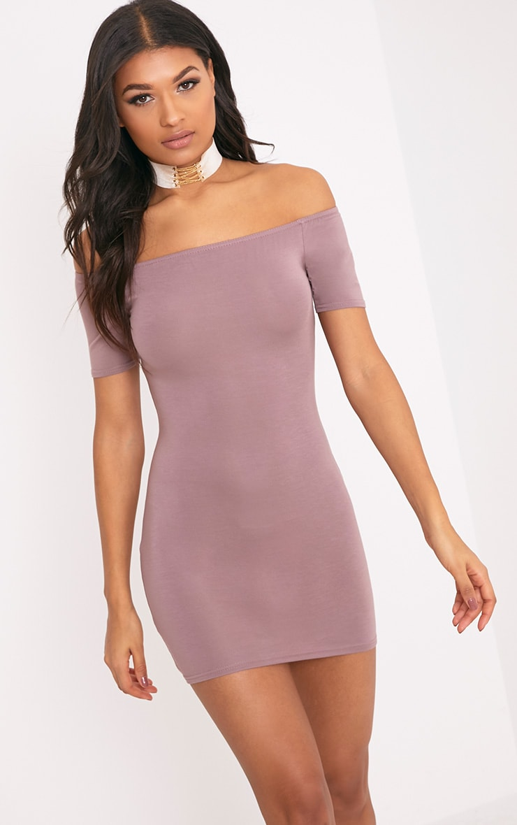 Basic Truffle Short Sleeve Bardot Bodycon Dress 1