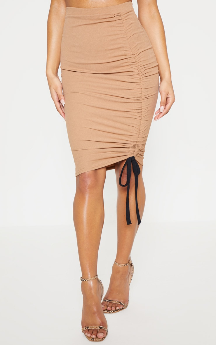 Camel Ruched Detail Midi Skirt 3