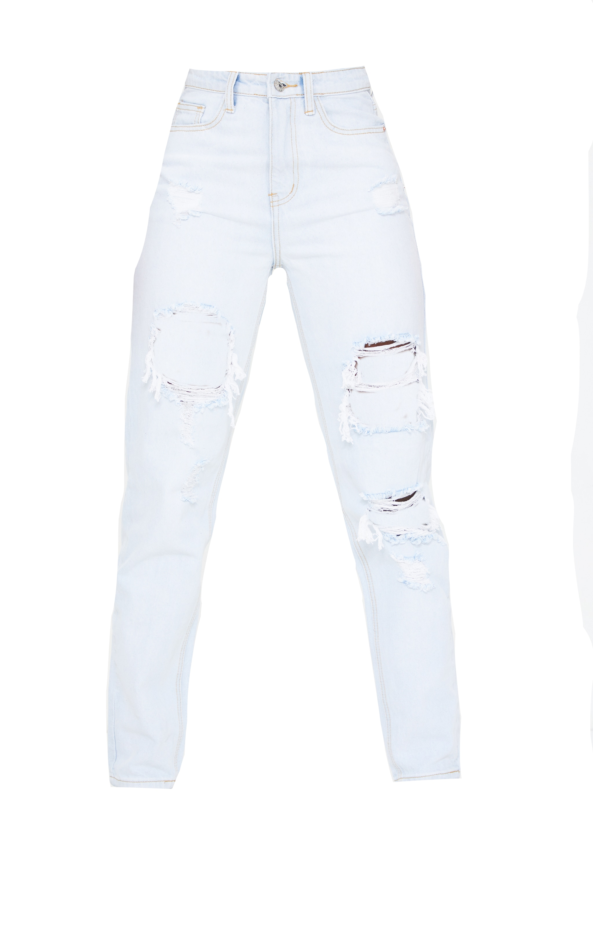 PRETTYLITTLETHING Tall Bleach Wash Distressed Mom Jean 5