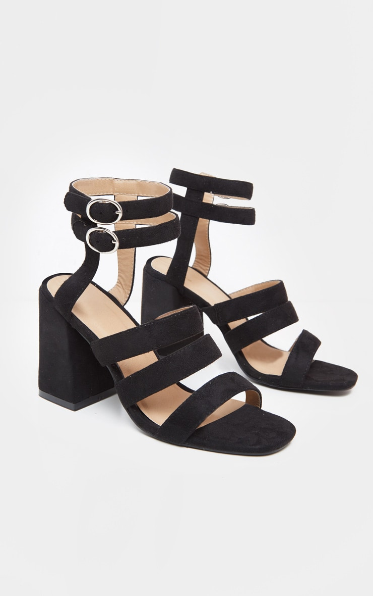 Black Double Buckle Strappy Block Heel Sandal 3