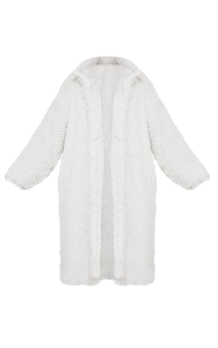 Cream Long Shaggy Faux Fur Oversized Maxi Coat 5