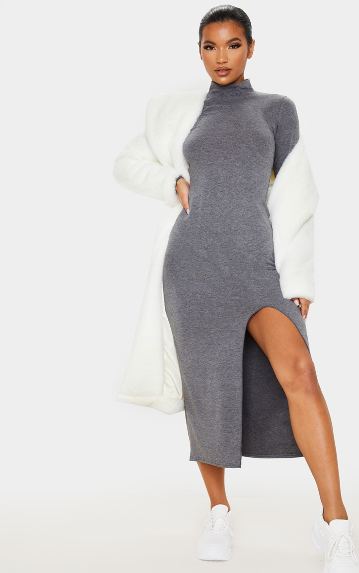 Grey Long Sleeve High Neck Split Front Midi Dress