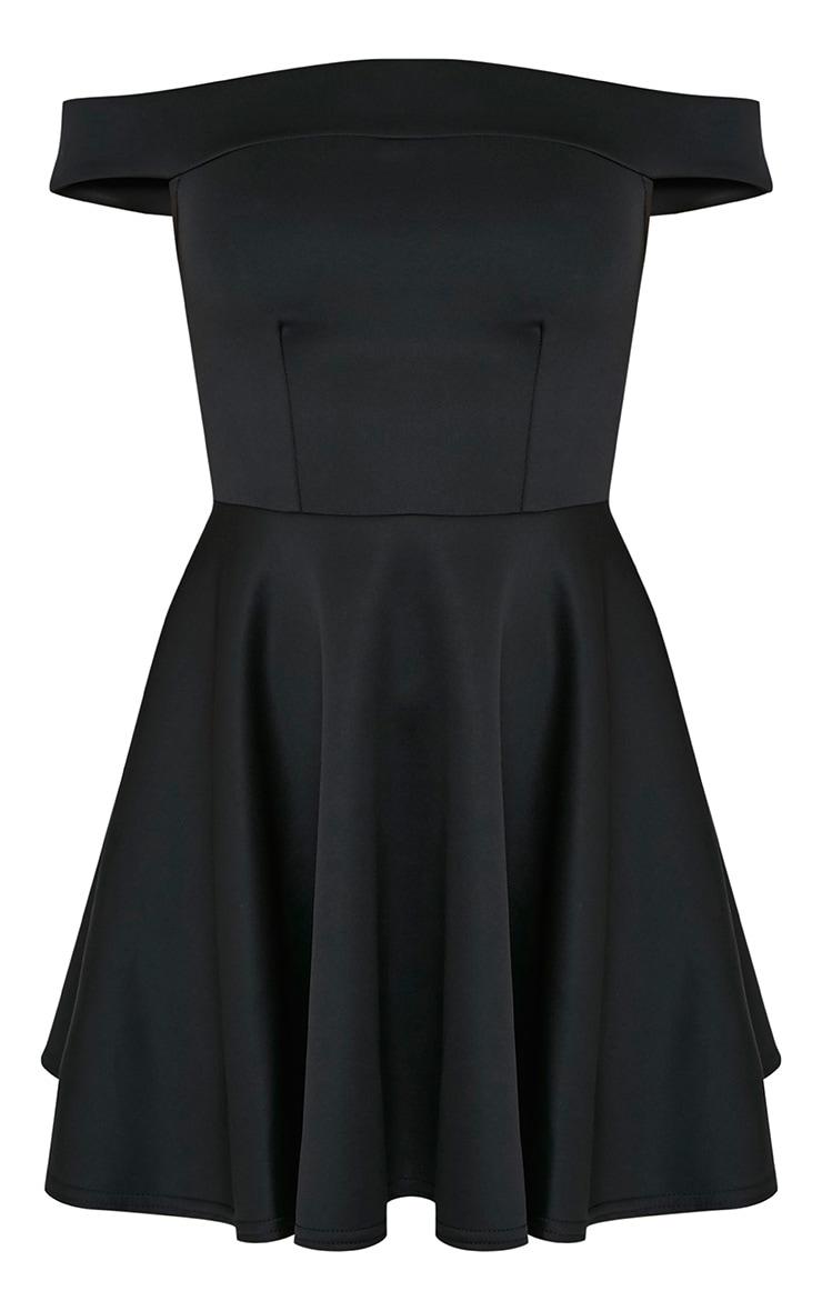 Monica Black Bardot Skater Dress 3